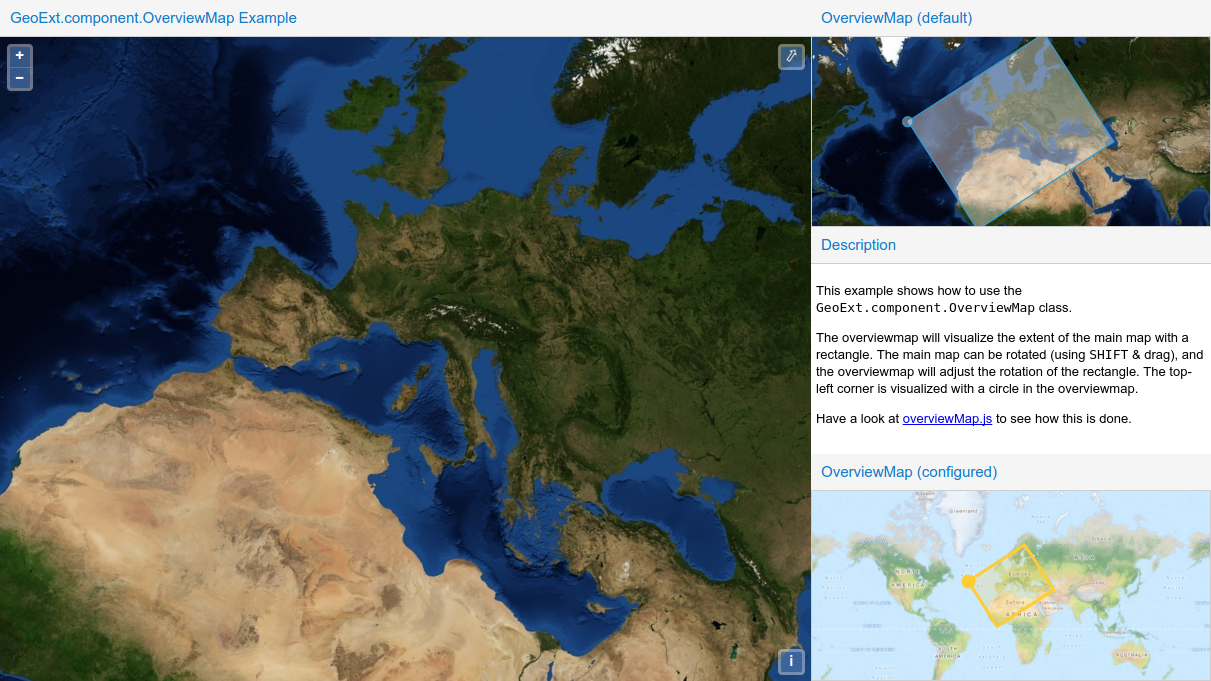 A screenshot of an example built with GeoExt 3